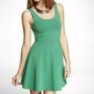 Express Green Mini Dress Fit Flare Party Preppy M